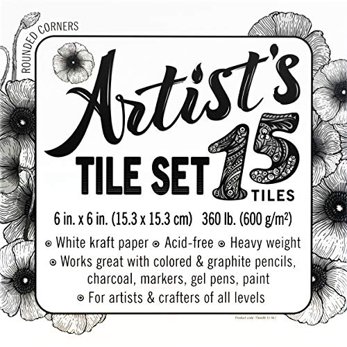 Artist's tile set: White 360 lb paper tiles, 30pt, 6x6 inches. Heavyweight paper for tangles, patterns, mandalas, dot painting and miniature drawings. Blank index flash note & post cards