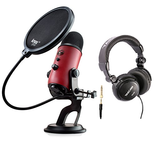 Blue Microphones Yeti Red USB Microphone Bundle with Studio Headphones and Knox Pop Filter