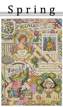 Zamtac Gold Collection Lovely Counted Cross Stitch Kit Spring Summer Autumn Winter Time Sampler janlynn Four Seasons Season - (Color: Spring, Cross Stitch Fabric CT Number: 16CT unprint Canvas)