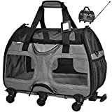 Katziela Pet Carrier with Removable Wheels - Soft Sided, Airline Approved Small Dog and Cat Carrying Bag with Telescopic Walking Handle, Mesh Ventilation Windows and Safety Leash Hook (Black) (Grey)