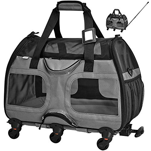 Katziela Pet Carrier with Removable Wheels - Soft Sided, Airline Approved Small Dog and Cat Carrying Bag with Telescopic Walking Handle, Mesh Ventilation Windows and Safety Leash Hook (Grey)