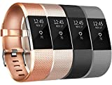 Charge 2 Correas Tobfit Charge 2 Correa de Muñeca Ajustable de Repuesto Accesorio Deporte Pulsera para Charge 2 (4-Pack Champagne Gold+Rose Gold+Black+Grey, Small) Product Name