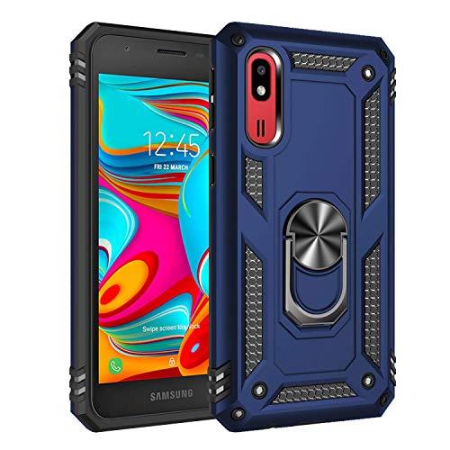 Compatible con Samsung Galaxy A260, funda de teléfono móvil con anillo para dedos, soporte giratorio 360 grados, antiarañazos, doble capa, antigolpes, para Samsung Galaxy A260 azul/rojo Talla única