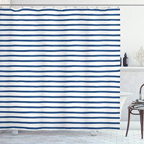 ABAKUHAUS Harbor-Streifen Duschvorhang, Hand Gezeichnet Meer, Moderner Digitaldruck mit 12 Haken auf Stoff Wasser und Bakterie Resistent, 175 x 200 cm, Nacht Blau Weiß