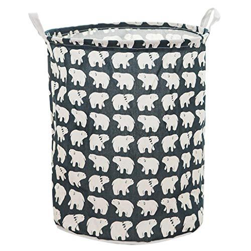 KULA Waterproof Canvas Laundry Clothes Storage Basket Foldable Storage Organizer Holder Box Pouch Barrel(None 1)