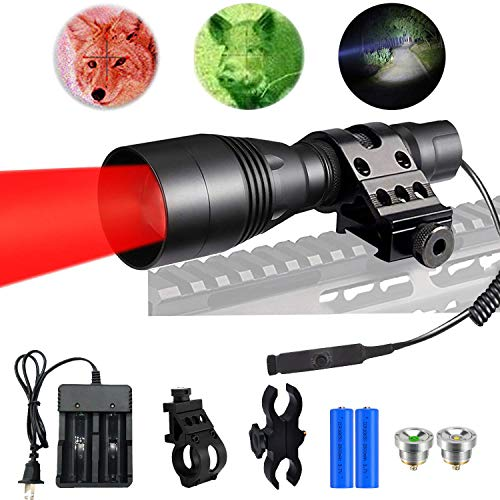Freelight Zoomable Led Hunting Light Kit with Interchangeable Red Green White Module and Scope Mount Long Range 350 Yards Night Kill Tactical Flashlight for Coon Bobcat Hog Coyote Varmint and Predator