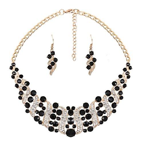YAZILIND Women White Black Rhinestone Crystal Necklace and Earring Set Statement Choker Collar Jewelry Set