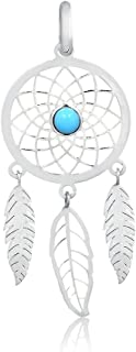18K Yellow White Gold Dream Catcher Feather Natural Turquoise Stone Charm Pendant, 1.45''