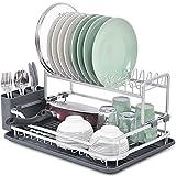 KINGRACK Escurridor de platos de aluminio de 2 niveles, instalación gratuita,...