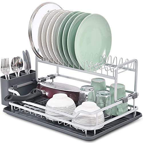 KINGRACK Escurridor de platos de aluminio de 2 niveles, instalación gratuita, estante de platos plegable para secar platos con bandeja de goteo y soporte para cubiertos para el hogar y la cocina