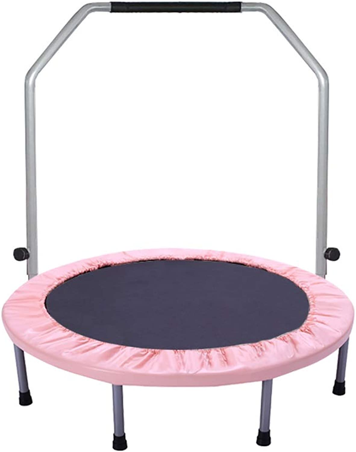 TRAMPOLINE ZCJB 38'' Mini Foldable Round with Safety Pad and Jumping Mat, 220 Pounds - Pink (Size   With armrests)
