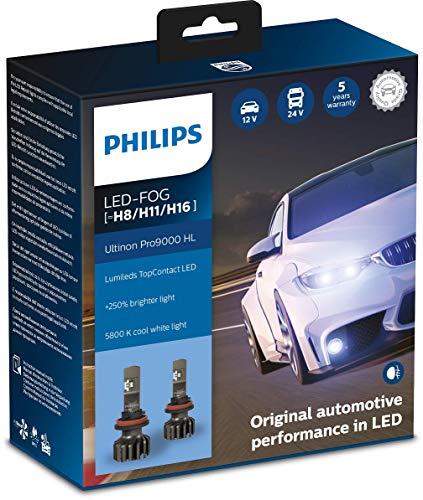 Philips Ultinon Pro9000 LED faros delanteros (H8/H11/H16), paquete doble