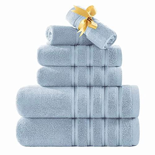 Zole - Juego de toallas turcas resistentes a la decoloración, 6 piezas, suaves y de alta calidad, color azul claro
