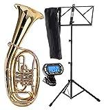 Classic Cantbile TH-38 trompa de tenor set con tripode para instrumento, afinador/metrónomo y atril