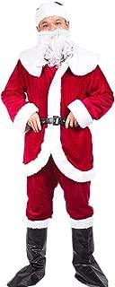 Christmas Santa Claus Costumes Plush Men's Pub Flannel Crawl Santa Suit Xmas Suit (Upgrade Dark Red)