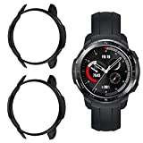 Sjiangqiao 2-Pack Cases Compatible with Huawei Honor Watch GS Pro Smart Watch, PC Plastic Protector Cover Anti-Scratch Shockproof Case Bumper Frame Shell for Honor Watch GS Pro (Black+Black)
