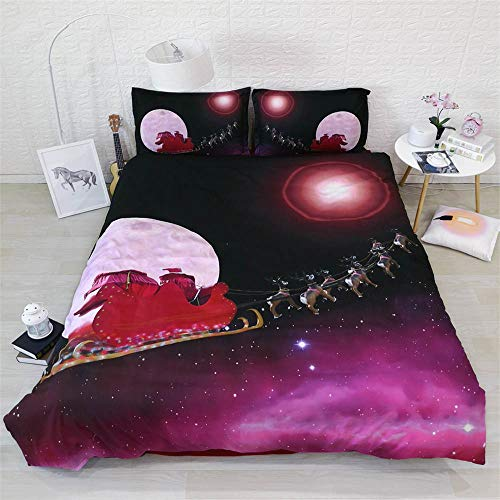 Rvvsovs Duvet Cover King Size 3 Pieces Cartoon Starry Christmas Sleigh Car Pattern Printed Bedding Duvet Cover With Zipper Closure Soft Microfiber Quilt Cover For Girls Boys Adults Children 220 X 23