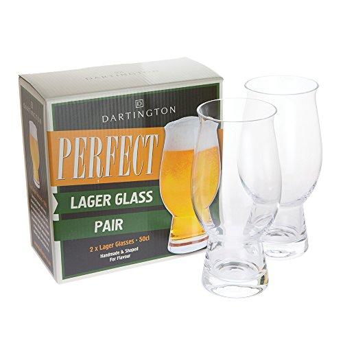 Dartington Crystal Perfect Lager - Coppia di vetro, 7,5 x 7,5 x 17,5 cm