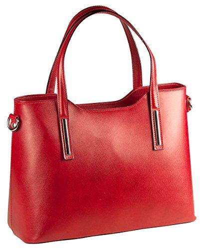PELLE ITALY Leder Handtasche PI10085 Damen Henkeltasche Tasche Echt Leder 36x26x15 cm (BxHxT), Farbe:Rot