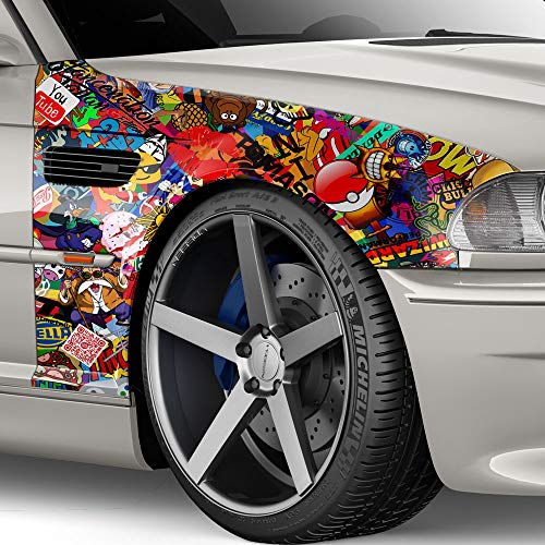 auto-Dress.de 30x150cm Stickerbombfolie Autofolie Stickerbomb Folie Sticker
