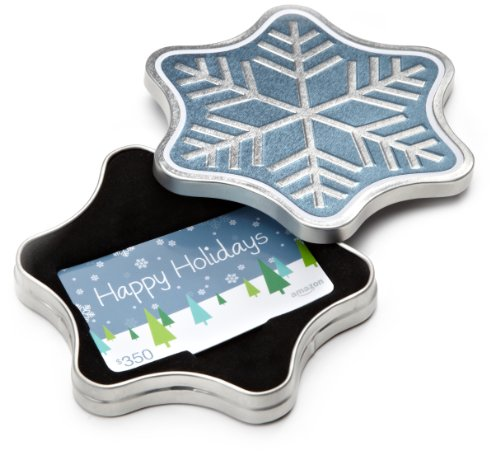 Amazon.com $350 Gift Card in a Snowflake Tin (Happy Holidays Card Design)