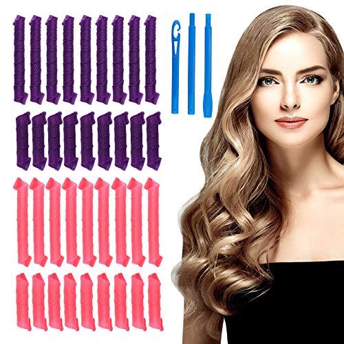 HALOVIE Lockenwickler Curler 36 Stück Haar Locken Curler Ohne Hitze Machen Haar-Styling-Tools für Langes Mittellanges Haar, 33cm/55cm für Damen