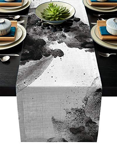 ABCrazy Dining Table Runner 13 x 70inch, Ink Painting Black and White Durable Table Covers Decoration for Family Dinner Kitchen Patios Coffee Table Everyday Use Tablecovers Chinese Style