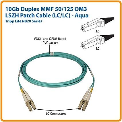 Tripp Lite 10Gb Duplex Multimode 50//125 OM3 LSZH Fiber Patch Cable LC//LC 5M - Aqua 16-ft. N820-05M
