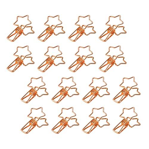 STOBOK 16 Pins para Ropa Pinzas para Ropa Pinzas de Metal Pinzas de Metal para Herramientas Documentos Páginas Recibos Fotos para Lavandería Cocina Oficina Aire Libre Oro Rosa