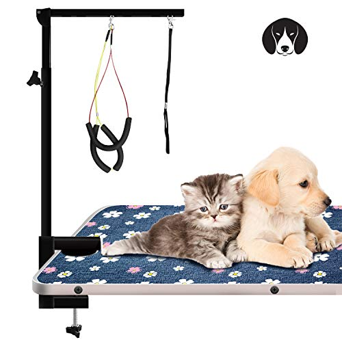 Urban Deco Pet Grooming Arm with Clamp Innovative Portable Two Grooming Arms - 41 inch Height Adjustable,Dog Grooming Loop and No Sit Haunch Holder for Large and Small Dogs,Cats