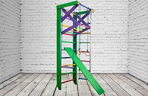 Dani kn-3220 Color Equipo Gimnasio Casa | Barra Ejercicio | Espaldera Violín | Gym Herramientas | Barras para Flexiones a Pared | con una Barra Horizontal | para niños y Adultos, Verde: