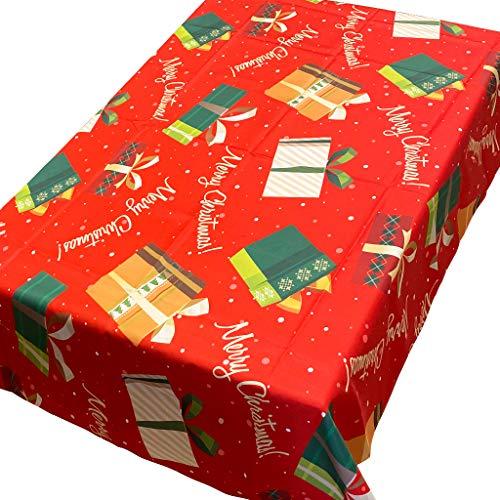 Manteles de Navidad rectangulares – Protector de mesa con poliéster impermeable y lavable, para cocina, comedor, jardín, decoración de mesas (140 x 180 cm, caja de regalo)