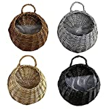ZYZY Flower Basket Hand-Woven Natural Willow Wall Hanging Multi-Functional Storage Decorative Flower Pot Home Gardening Wedding Party Decor Supplies