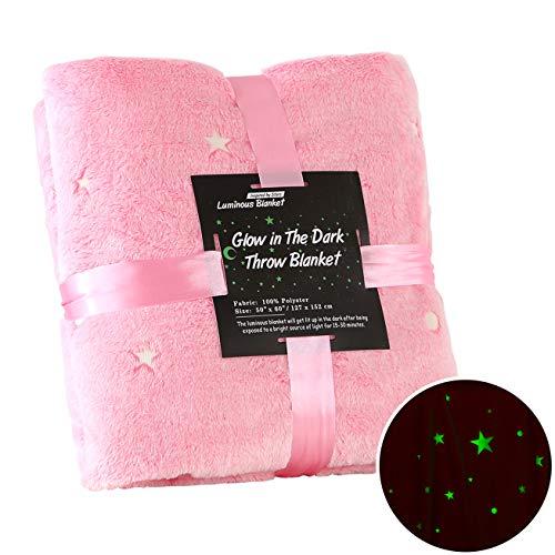 SUCHDECO Kuscheldecke Leuchtende Decke Glow In The Dark Decke Sterne Monde Weiche Bettdecke Warm Kuscheldecke Leuchtend für Kinder Baby Mädchen Junge (127 x 152 cm, Pink)