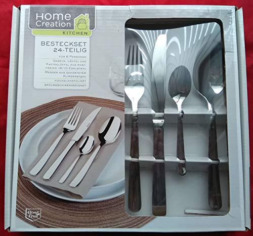 Home Creation Besteckset24 - Teilig, rostfreier Edelstahl18/10, für 6 Personen,Besteck-Garnitur Set