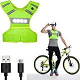 Machine Washable Reflective Running Vest with LED Lights USB Rechargeable Safety Gear