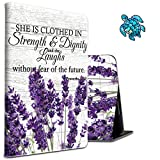 Case for All-New Kindle Paperwhite 10th Generation 2018 Slim Shockproof Purple Lavender Protective Cover with A Cute Turtle Sticker for Kids Teens