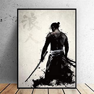 DONGPU Japanese Samurai Canvas Oil Painting Modern Wall Art Pictures Canvas Print for Living Room HD Home Decoration Posters and Prints (Color : 2, Size (Inch) : 50x70cm No Frame)