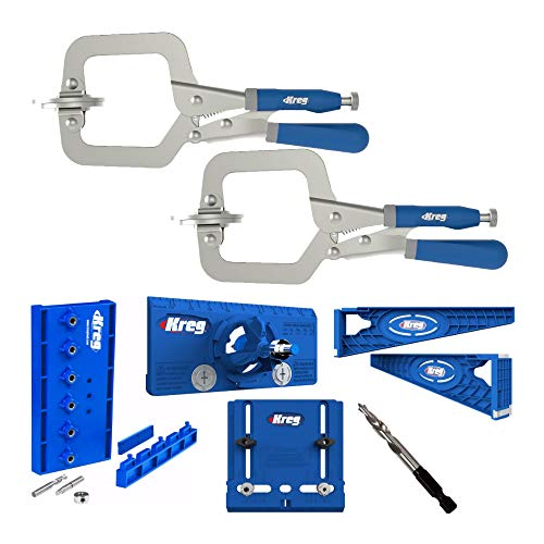 Kreg Classic 3-Inch Face Clamp, Drilling Jig, Concealed Hinge Jig, Drawer Slide Jig and Accessory Bundle