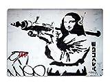 Giallobus - Gemälde - Banksy - Monalisa-Kanone - Druck auf MDF-Holz - bereit zu hängen - 42x29,7 cm