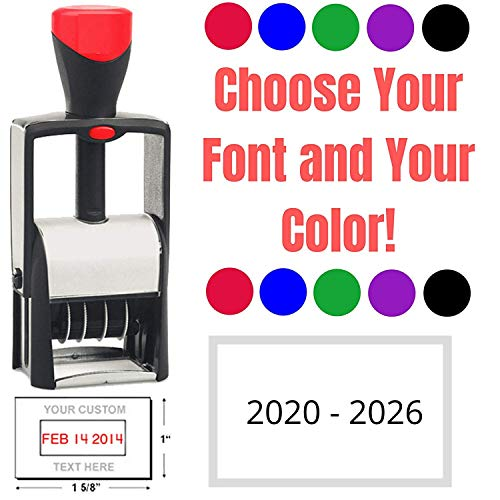 Heavy Duty 2020 Date Stamp with 2-3 Lines Custom Text - Self Inking Business Stamp
