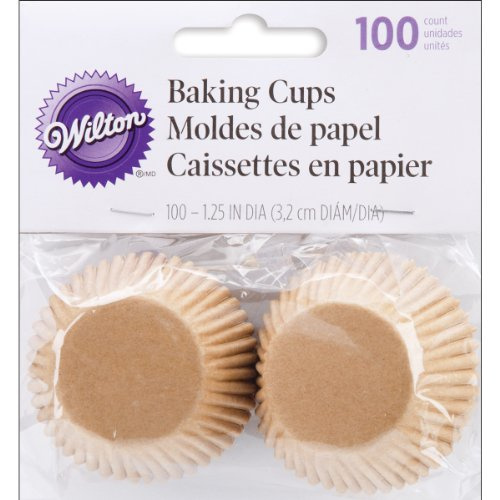 Wilton Unbleached Mini Baking Cups, 100 Count ,Brown