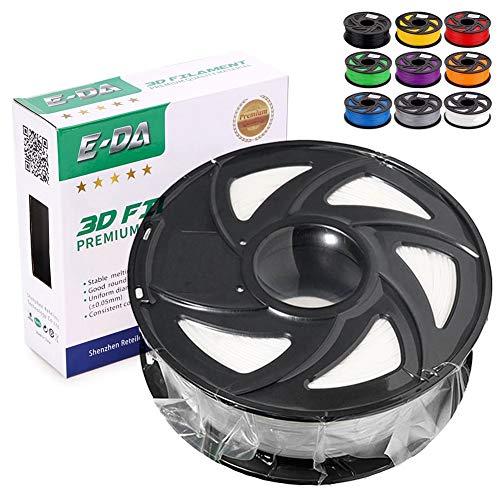 E-DA White PLA+ 3D Printer Filament 1.75mm 1KG Suitable for Most 3D Printers (White)