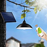 OurLeeme Outdoor Solar Light, 12LED Retro Waterproof Hanging Lamp with Lampshade Solar LED Bulb with 3M Cord Remote Control for Garden Yard Home