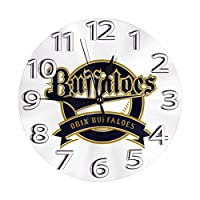 フレームなしの円形の壁時計オリックス?バファローズ ロゴミュート掛け時計屋内壁の装飾デスクトップジュエリークリエイティブクロック直径25cm