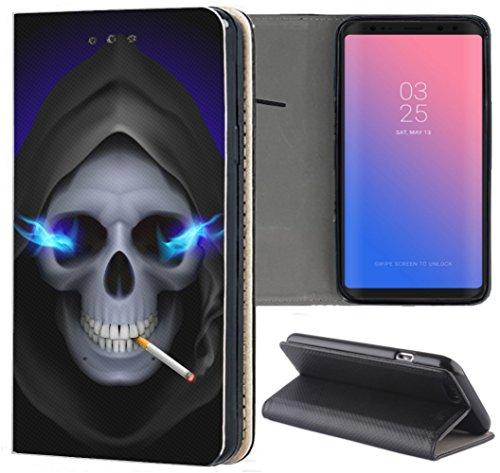 KX-Mobile Samsung Galaxy A41 Hülle - Handyhülle für Samsung Galaxy A41 - Handycover aus Kunstleder Motiv 1048 Totenkopf Sensenmann Zigarette Schutzhülle Smart Klapphülle Hülle