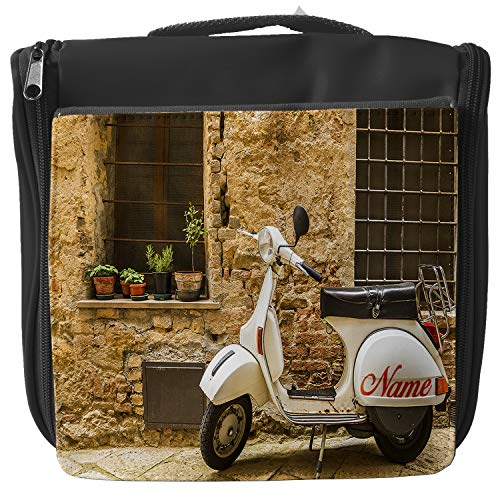 Personalised Wash Bag Vespa Lambretta Scooter Hanging Toiletry Bag | Travel Make up Cosmetic| Overnight Bag ** Add a Name ** SH272