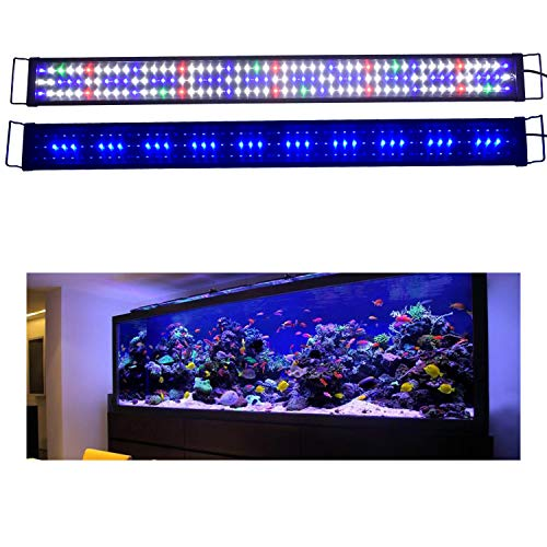 KZKR Upgraded Aquarium Light LED Full Spectrum 72-84 inch Hood Lamp for Freshwater Marine Plant 180-210 cm Multi-Color Decorations Fish Tank Light