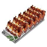 tradeNX, Supporto per costine per barbecue, in acciaio inox massiccio