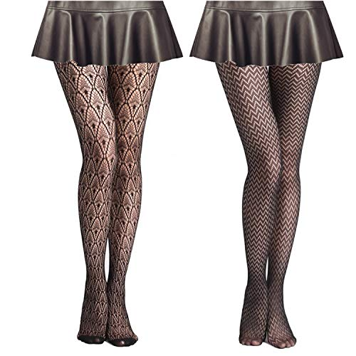 MengPa Fishnet Stockings High Waisted Tights Legging Pantyhose for Women Dancing Party Small Hole (Black 4Pcs-Wave,Floral) J2443-1-2-32-37
